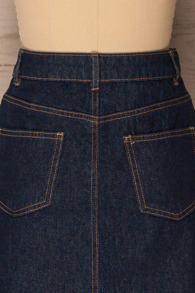 Nogerado Dark Blue Denim Button-Up Mini Skirt | La Petite Garçonne 6