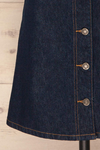 Nogerado Dark Blue Denim Button-Up Mini Skirt | La Petite Garçonne 7