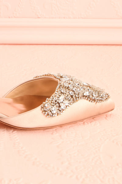 Nollet Beige Satin Kitten Heels with Crystals | Boudoir 1861 7