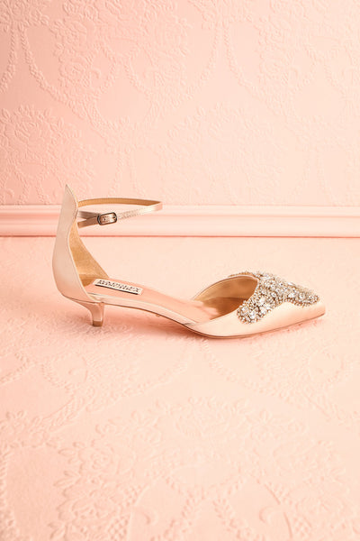 Nollet Beige Satin Kitten Heels with Crystals | Boudoir 1861 5