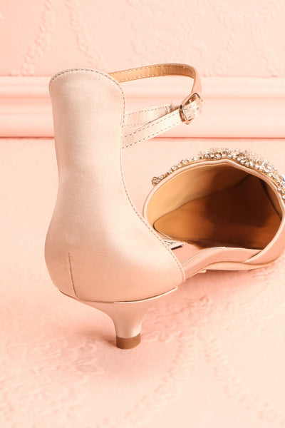 Nollet Beige Satin Kitten Heels with Crystals | Boudoir 1861 9