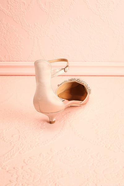Nollet Beige Satin Kitten Heels with Crystals | Boudoir 1861 8