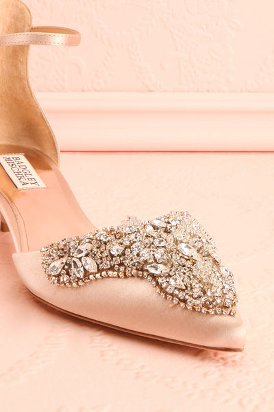 Nollet Beige Satin Kitten Heels with Crystals | Boudoir 1861 4