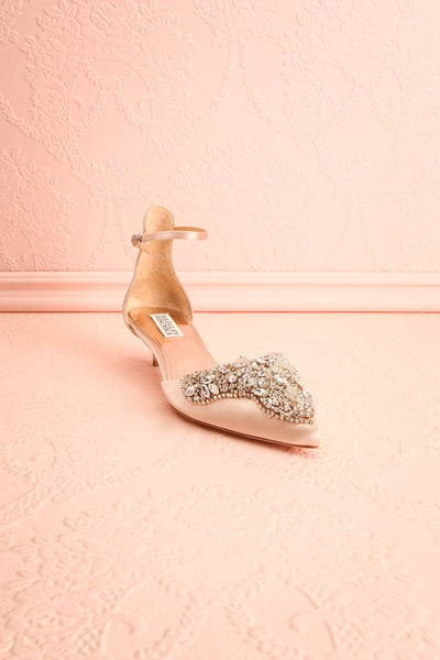 Nollet Beige Satin Kitten Heels with Crystals | Boudoir 1861 3