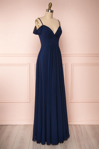 Norhai Marine Navy Chiffon Maxi Dress | Boudoir 1861 side view