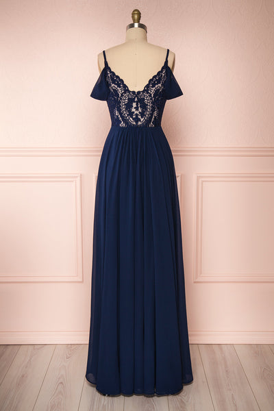 Norhai Marine Navy Chiffon Maxi Dress | Boudoir 1861 back view