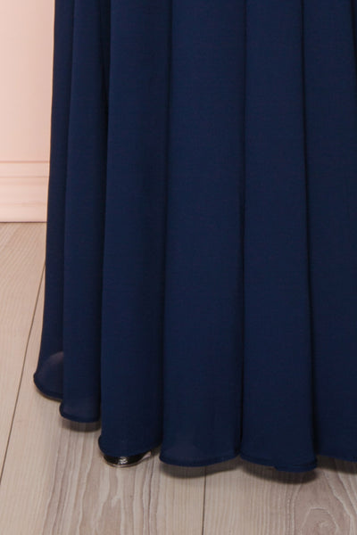 Norhai Marine Navy Chiffon Maxi Dress | Boudoir 1861 bottom close-up
