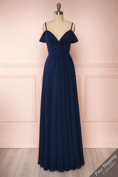 Norhai Marine Navy Chiffon Maxi Dress | Boudoir 1861 front view