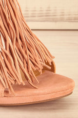 Novara - Pink suede fringed high heels sandals