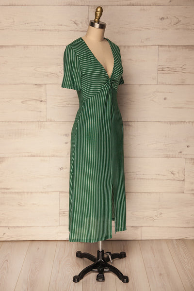 Nowogard Green & White Striped Midi Summer Dress | La Petite Garçonne
