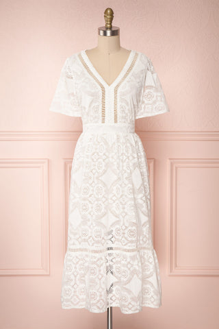 Nuiova White Lace Butterfly Sleeved Midi Dress | Boutique 1861