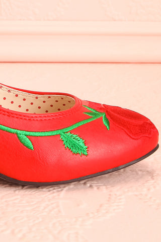 Occitanie Red 1950s Inspired Heels with Embroidery | Boutique 1861 8