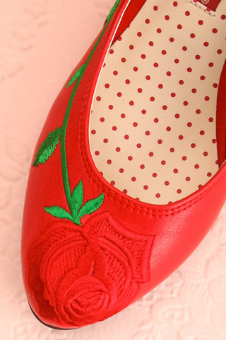 Occitanie Red 1950s Inspired Heels with Embroidery | Boutique 1861 3