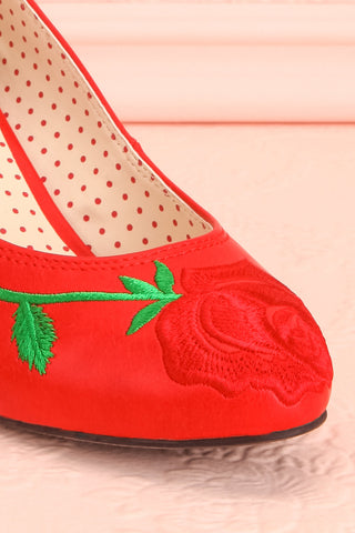 Occitanie Red 1950s Inspired Heels with Embroidery | Boutique 1861 5