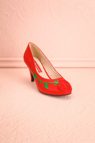 Occitanie Red 1950s Inspired Heels with Embroidery | Boutique 1861 4