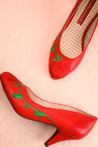 Occitanie Red 1950s Inspired Heels with Embroidery | Boutique 1861 1