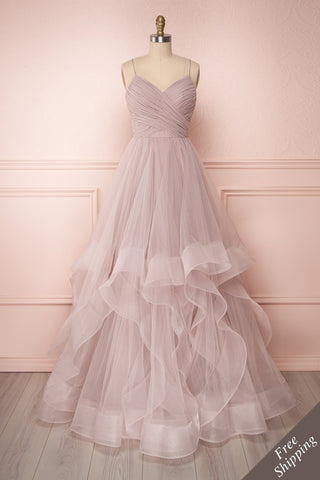 Ochobo Dusty Lilac Layered & Ruffled Tulle A-Line Gown | Boudoir 1861