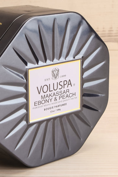 Octogon Tin candle Makassar Ebony & Peach | Voluspa | La petite garçon… closed close-up