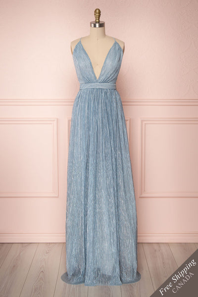 Odval Blue & Silver Shimmering Maxi Dress | Boutique 1861