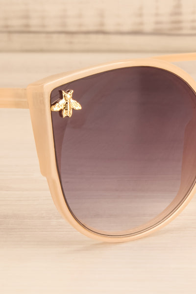Oincio Beige Embellished Butterfly Sunglasses side close-up | La Petite Garçonne