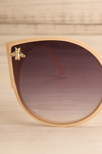 Oincio Beige Embellished Butterfly Sunglasses front close-up | La Petite Garçonne