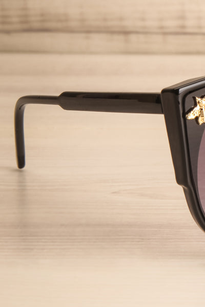 Oincio Black Embellished Butterfly Sunglasses arm close-up | La Petite Garçonne