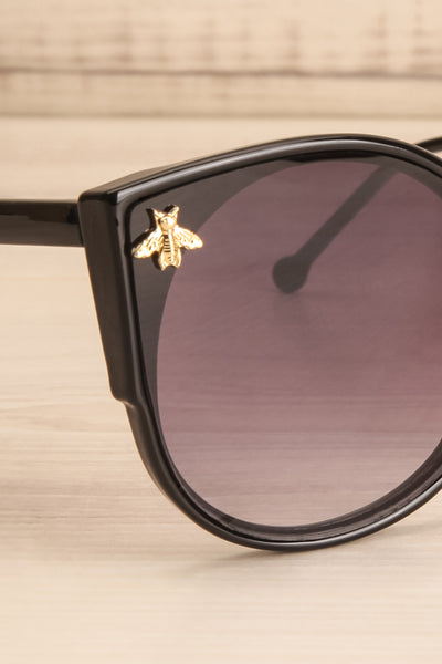 Oincio Black Embellished Butterfly Sunglasses side close-up | La Petite Garçonne