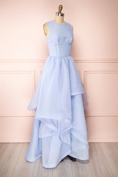 Olalla Light Blue Asymmetrical Maxi Dress | Boutique 1861 side view