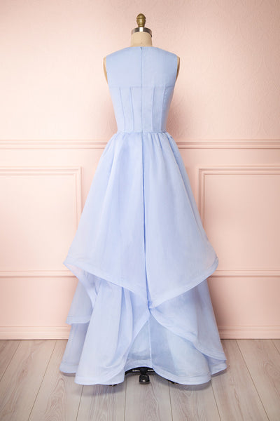 Olalla Light Blue Asymmetrical Maxi Dress | Boutique 1861 back view
