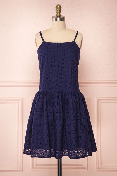 Olavarria Navy Blue Lace Short Flared Dress | Boutique 1861