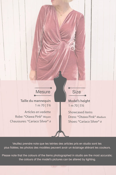 Olawa Pink Long Sleeve Draped Velvet Dress | La petite garçonne size