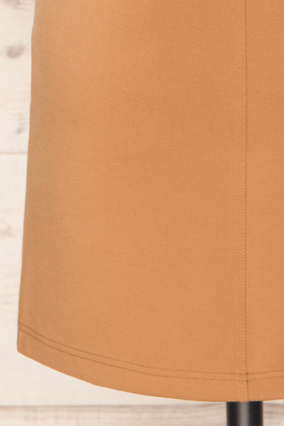 Olkusz Camel High-Waisted Short Skirt | La petite garçonne back bottom close-up