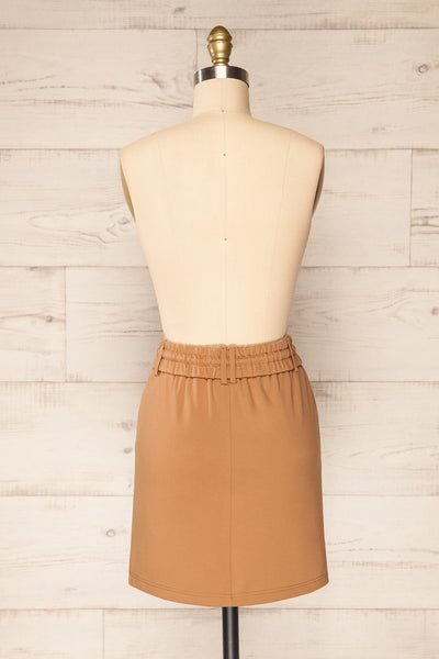 Olkusz Camel High-Waisted Short Skirt | La petite garçonne back view