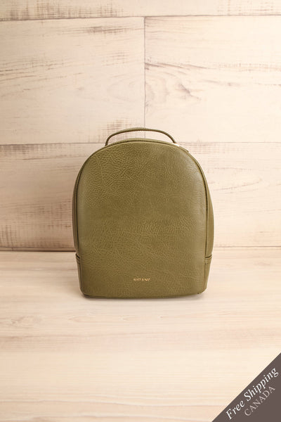 Olly Leaf Olive Green Vegan Leather Backpack front view | La Petite Garçonne