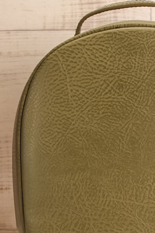 Olly Leaf Olive Green Vegan Leather Backpack fabric details | La Petite Garçonne