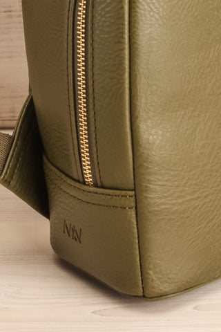 Olly Leaf Olive Green Vegan Leather Backpack side close-up | La Petite Garçonne