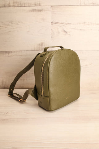 Olly Leaf Olive Green Vegan Leather Backpack side view | La Petite Garçonne