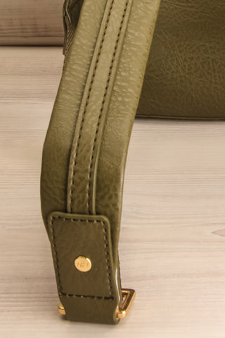 Olly Leaf Olive Green Vegan Leather Backpack strap close-up | La Petite Garçonne