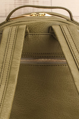 Olly Leaf Olive Green Vegan Leather Backpack back close-up | La Petite Garçonne