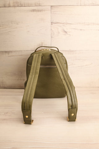 Olly Leaf Olive Green Vegan Leather Backpack back view | La Petite Garçonne