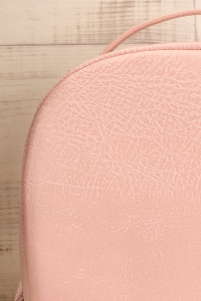 Olly Rose Light Pink Vegan Leather Backpack Fabric Details | La Petite Garçonne