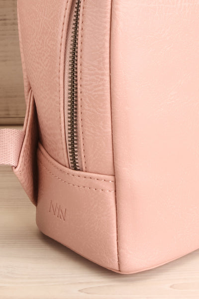 Olly Rose Light Pink Vegan Leather Backpack Side Close-up | La Petite Garçonne