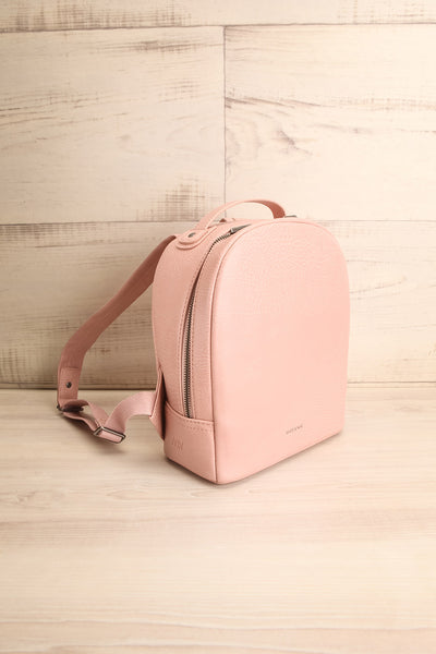 Olly Rose Light Pink Vegan Leather Backpack Side View | La Petite Garçonne