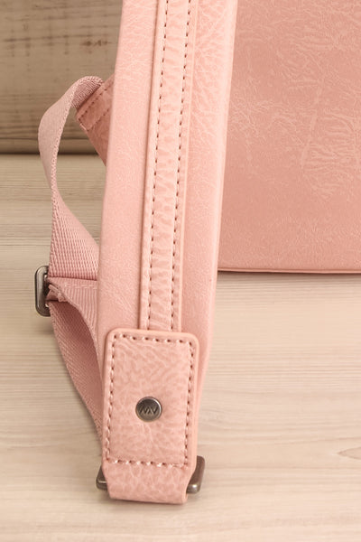 Olly Rose Light Pink Vegan Leather Backpack Strap Close-up | La Petite Garçonne