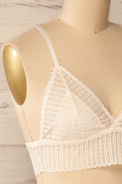Onex Ivory Racerback Bralette | Racerblack Lace Bralette side close-up
