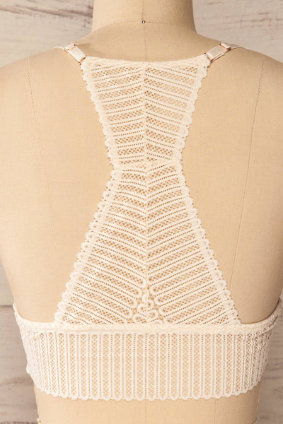Onex Ivory Racerback Bralette | Racerblack Lace Bralette back close-up