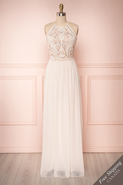 Onomichi Pink Chiffon Halter Gown w/ Beaded Bodice | Boutique 1861