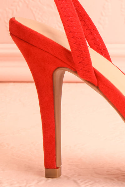 Orfila Red Slip-On Sandal Stilettos | Talons | Boutique 1861 side close-up