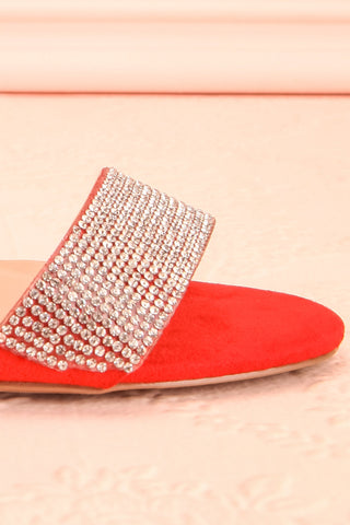 Orfila Red Slip-On Sandal Stilettos | Talons | Boutique 1861 side front close-up