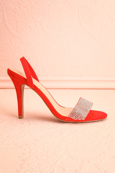 Orfila Red Slip-On Sandal Stilettos | Talons | Boutique 1861 side view